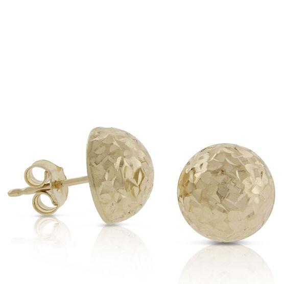 Toscano Diamond Cut Domed Earrings 14K