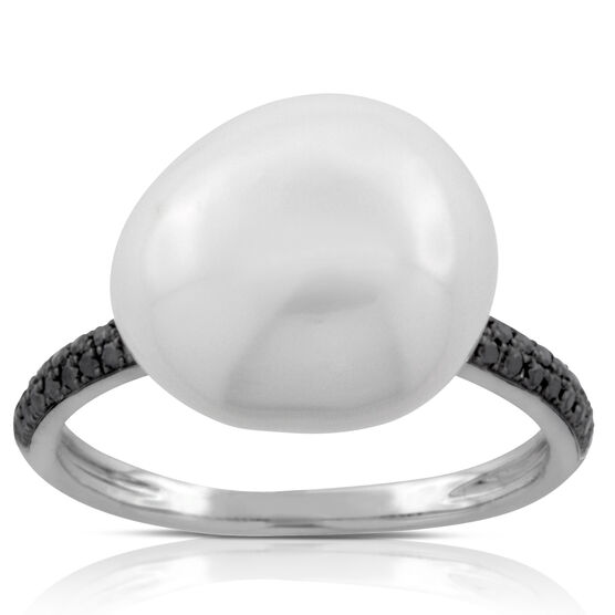 Baroque Freshwater Cultured Pearl & Black Diamond Ring 14K