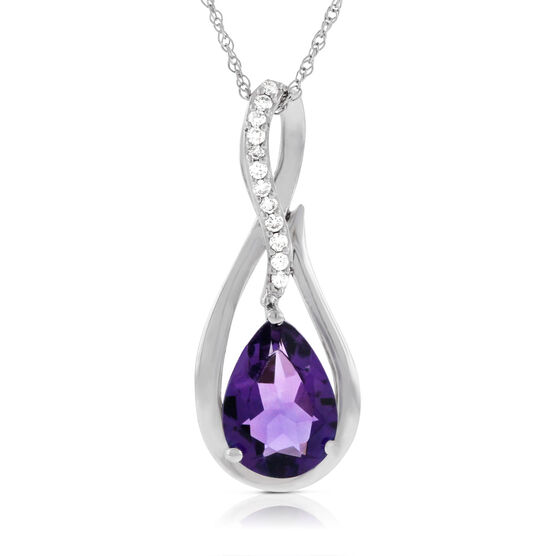 Pear Shaped Amethyst & Diamond Pendant 14K