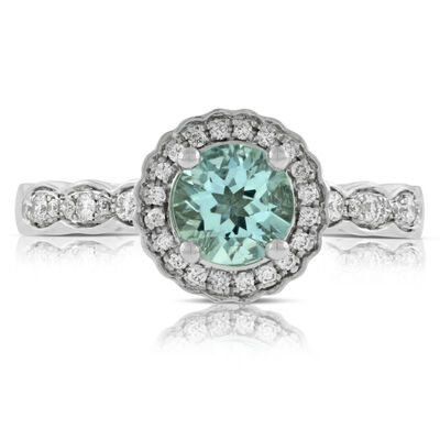 Aquamarine & Diamond Ring 14K