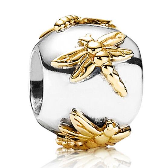 PANDORA Golden Dragonflies Charm, Silver & 14K