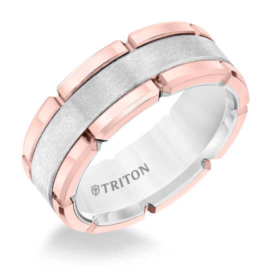 TRITON White & Rose Tungsten Band