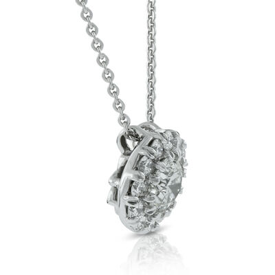 Halo Diamond Pendant 14K