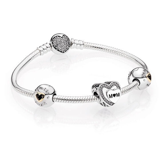 PANDORA Tribute to Mom Bracelet Gift Set, Silver & 14K