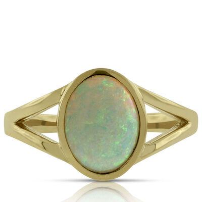 Opal Split Shank Ring 14K