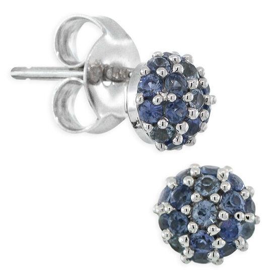 Sapphire Pavé Earrings 14K