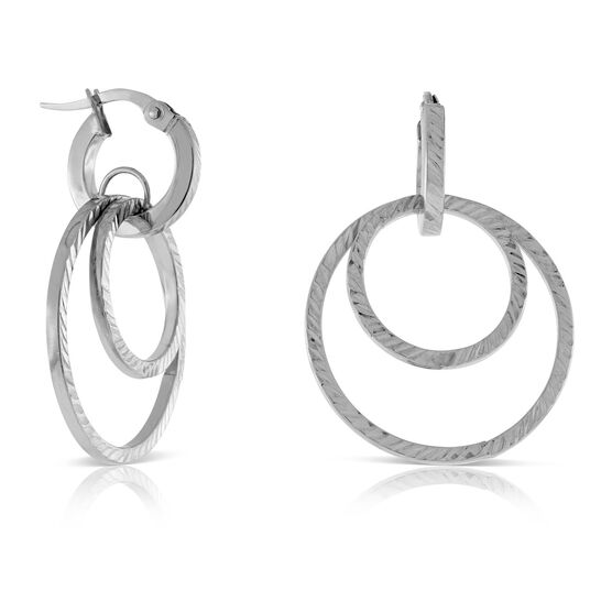 Double Circle Hoop Earring 14K