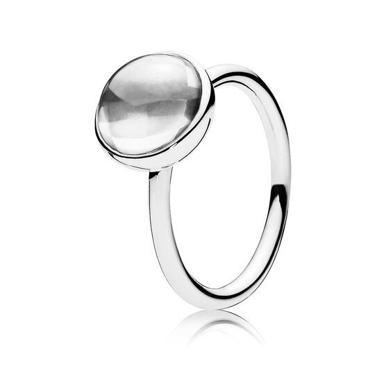 PANDORA Clear Poetic Droplet Ring