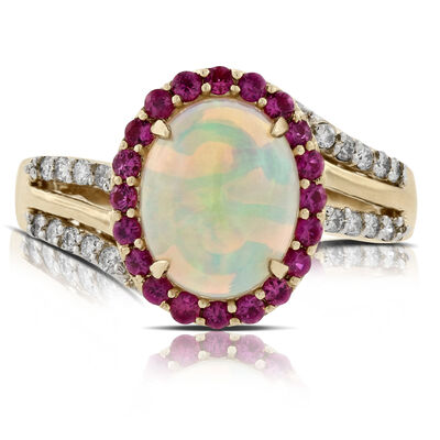 Opal, Ruby & Diamond Ring 14K