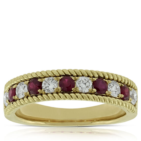 Ruby & Diamond Wire Edge Band 14K