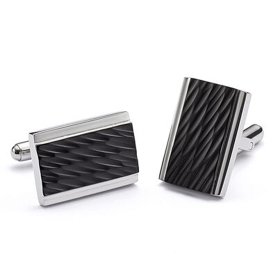 Diagonal Cut Cufflinks in Stainless Steel