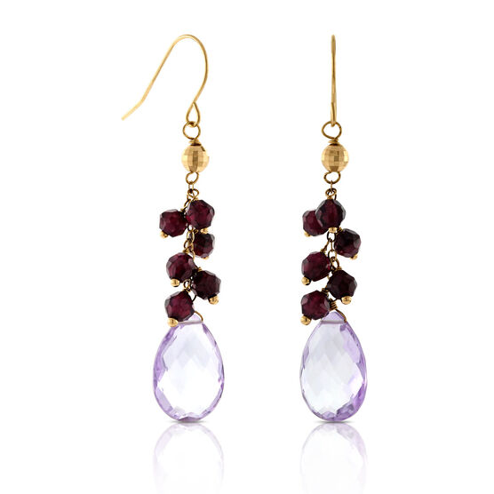 Amethyst Briolette & Garnet Drop Earrings 14K