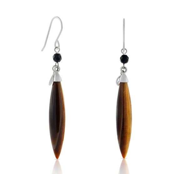 Lisa Bridge Tiger's Eye & Black Onyx Dangle Earrings