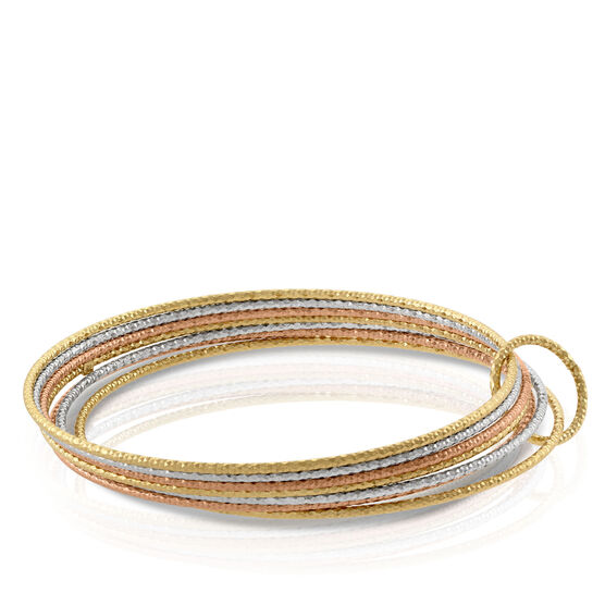 Tri-Color Bangle Bracelet 14K