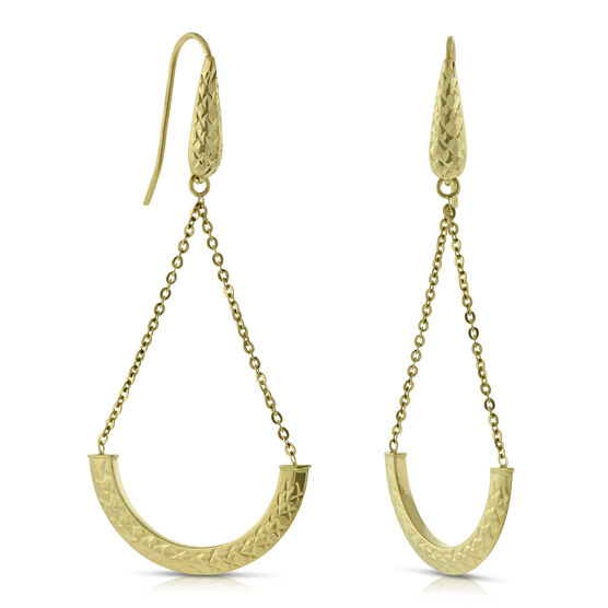 Diamond Cut Swing Earrings 14K