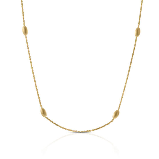 Satin Bead Station Necklace 14K