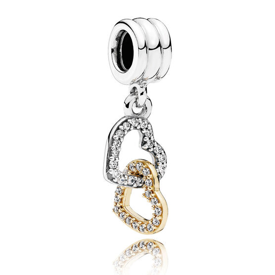 PANDORA Interlocked Hearts CZ Dangle, Silver & 14K