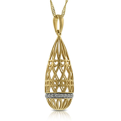 Filigree Drop Diamond Pendant 14K
