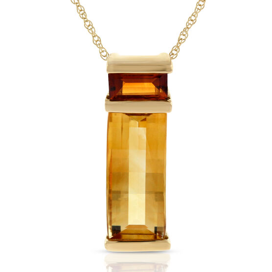 Citrine Bar Pendant 14K