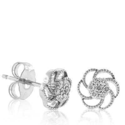 Floral Diamond Cluster Earrings 14K