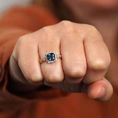 Cushion Blue Topaz Ring 14K