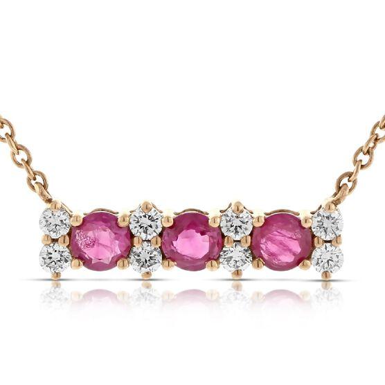 Rose Gold Ruby & Diamond Bar Necklace 14K