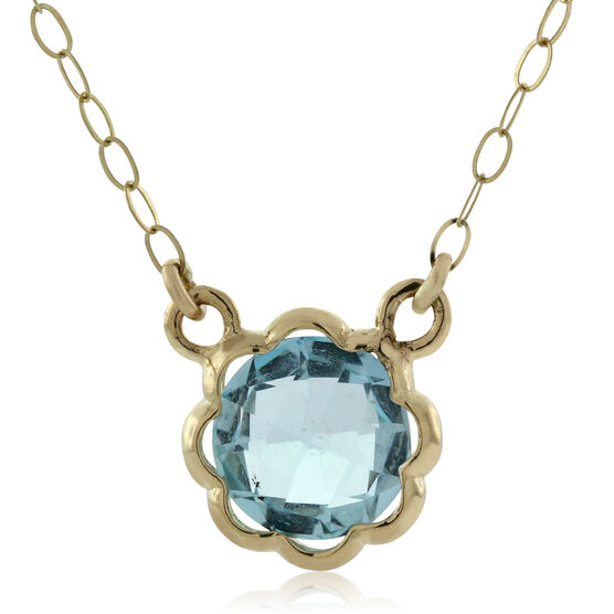 Scalloped Bezel Blue Topaz Necklace 14K