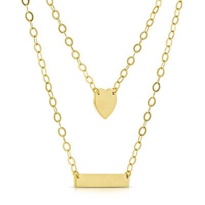 Duet Bar Heart Necklace 14K