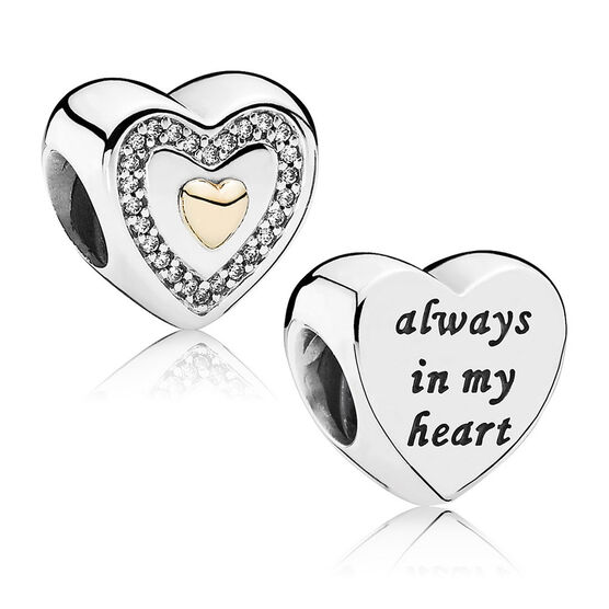 PANDORA Always in My Heart Charm, Silver & 14K
