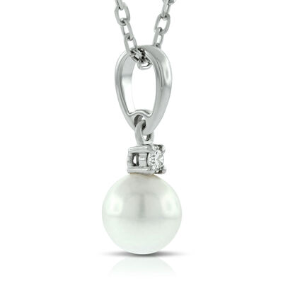 Mikimoto Akoya Cultured Pearl & Diamond Pendant,6mm,  AA, 18K
