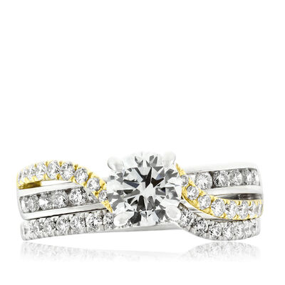 Two-Tone Diamond Wedding  Set 14K