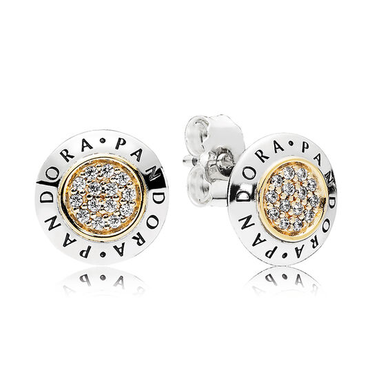 PANDORA Signature CZ Stud Earrings. Silver & 14K