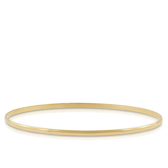 Gold Bangle Bracelet 14K, 2mm