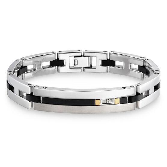 Diamond Bracelet in Stainless Steel with Onyx & 18K