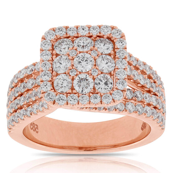Rose Gold Halo Diamond Ring 14K