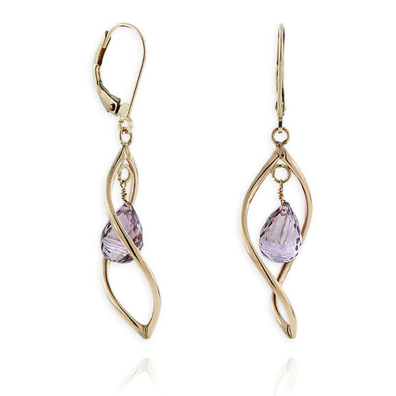 Twisted Dangle Amethyst Earrings 14K