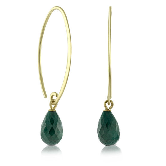Briolette Emerald Earrings 14K