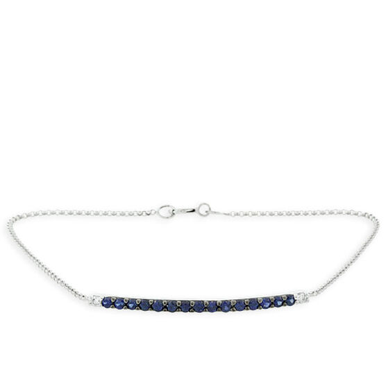 Sapphire & Diamond Bar Bracelet 14K