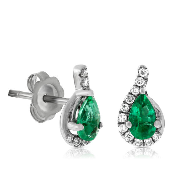 Emerald & Diamond Stud Earrings 14K