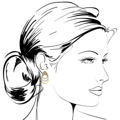 Toscano Tri-Color Graduated Hoop Earrings 14K