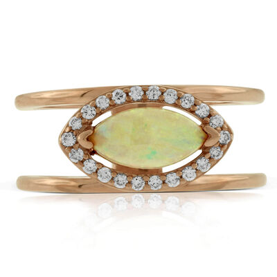 Rose Gold Opal & Diamond Ring 14K