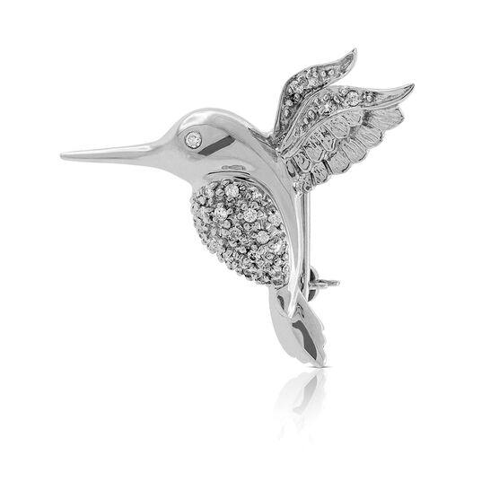Hummingbird Diamond Pin 14K