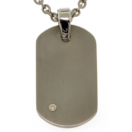 Diamond Dog Tag Pendant in Titanium