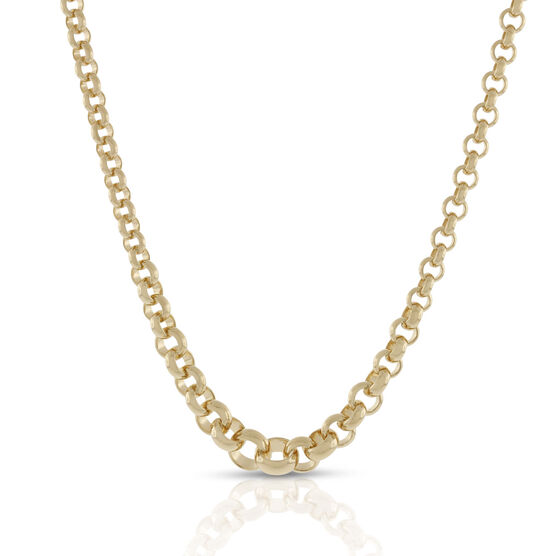 Toscano Collection Graduated Solid Rolo Necklace 18K