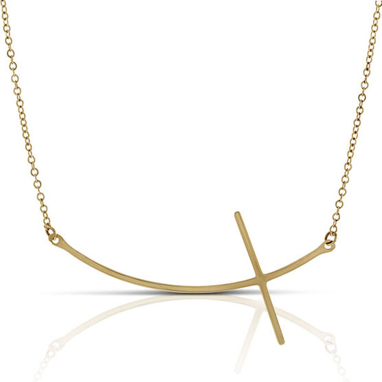 Curved Cross Necklace 14K