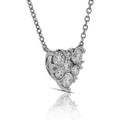 Cluster Diamond Heart Pendant 14K