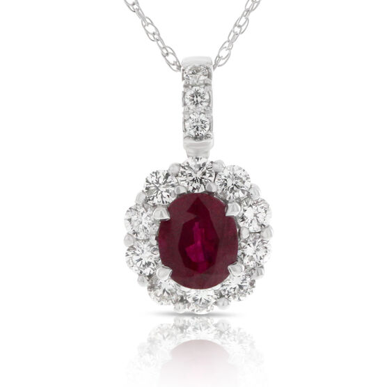Ruby & Diamond Pendant 14K