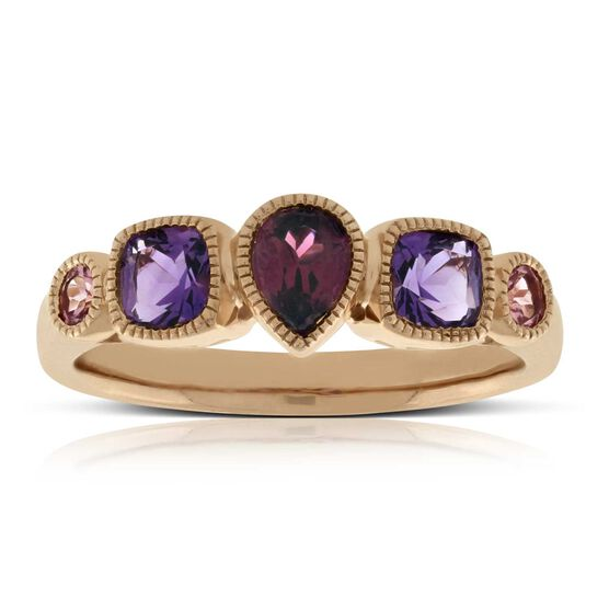 Rose Gold Multi Gem Ring 14K
