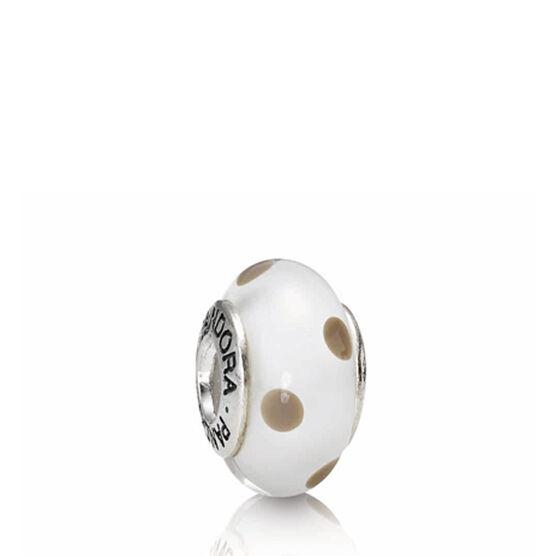 PANDORA White/Beige Polka Dots Charm RETIRED