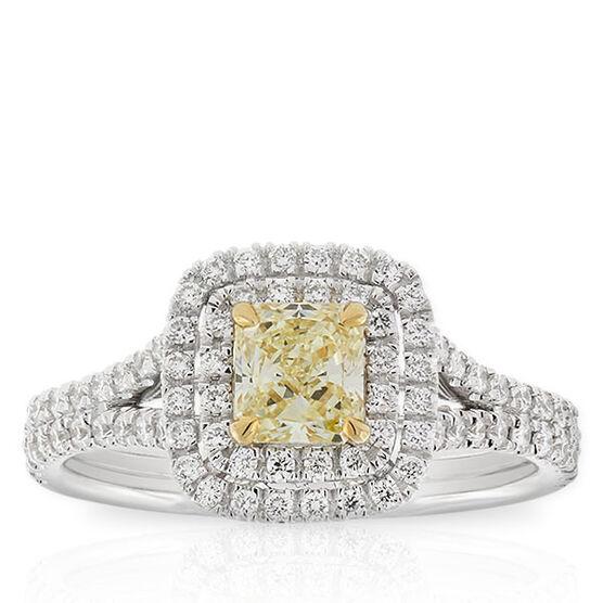 Radiant Cut Yellow Diamond Halo Ring .60 Ct. Center